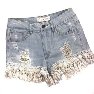 Alter'd State Boho Fringe Light Wash Jean Shorts